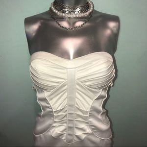 Arden B Dresses - Strapless pleated corset satin cocktail dress
